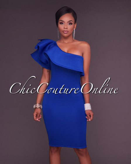 River Royal Blue One Ruffle Sleeve Midi Dress