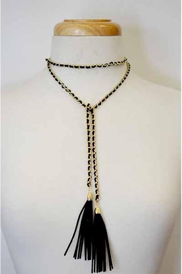 Darwin Black Gold Wrap Around Tassel  End Choker Necklace