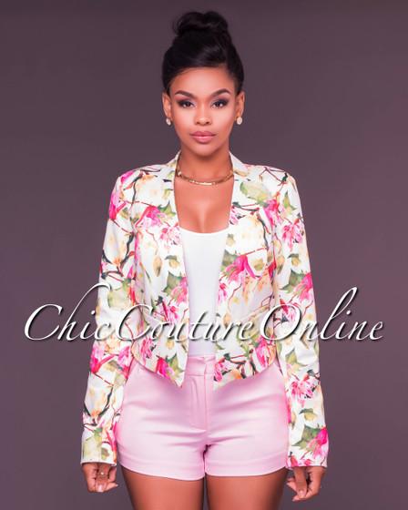 Darja Ivory Pink Floral Print Jacket