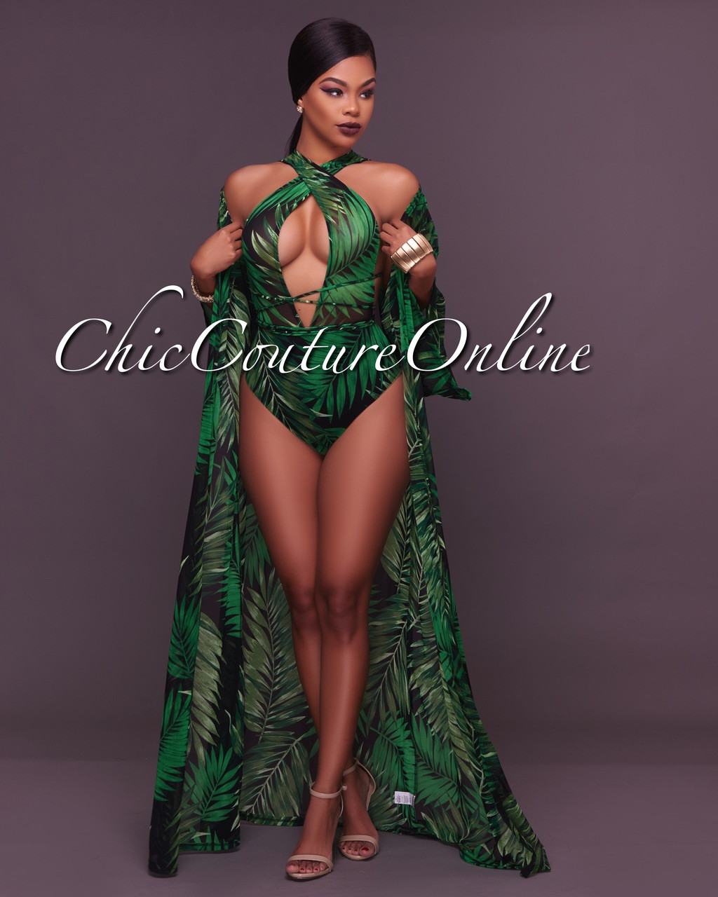 897dcf2f82 Caicos Green Leaf Print Mesh Swimsuit Cover-up Set