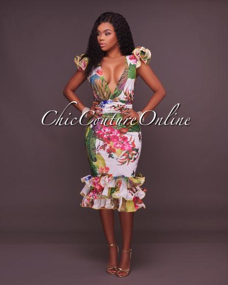Rosabel Off-White Multi-Color Print Ruffle Dress