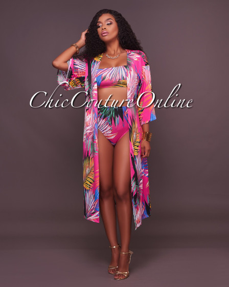 Aabrey Fuschia Abstract Print Three Piece Set Swimsuit