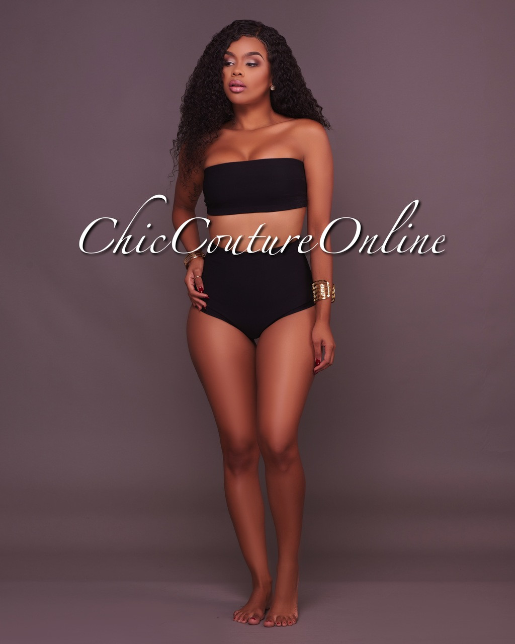 b64d822387036 Abbee Black Two Piece High Waist Swimsuit. Price   60.00. Image 1. Larger    More Photos