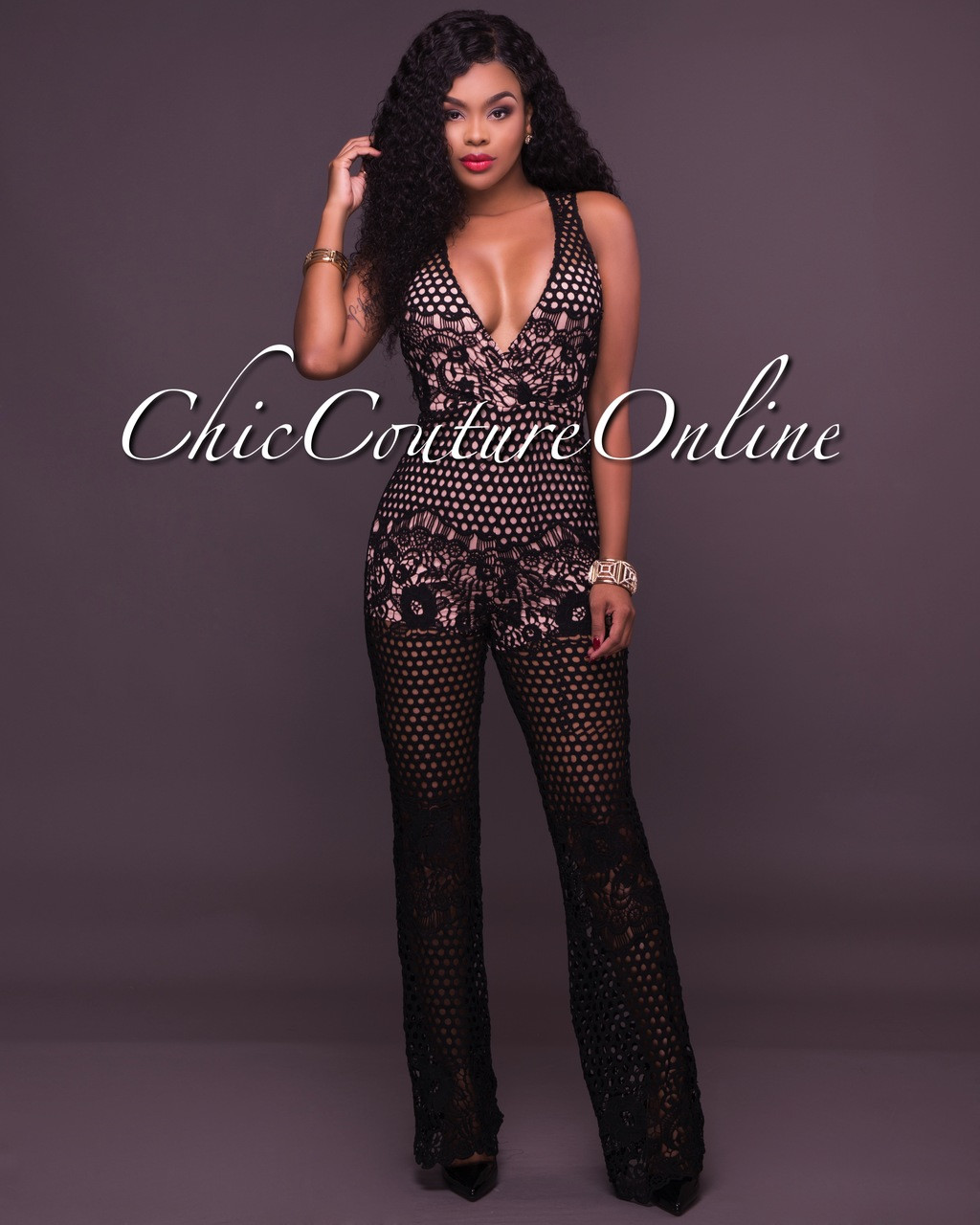e91bf007e438 Becky Black Crochet Overlay Jumpsuit. Your Price   50.00 (You save  25.00).  Image 1