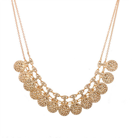 Lanez Golden Coins Statement Necklace