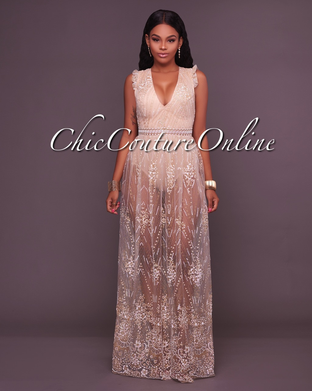 23cfa50c3b2 Saige Nude Sheer Illusion Mesh Bodysuit Maxi Dress