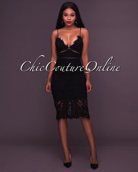 Kora Black Lace Overlay Midi Dress