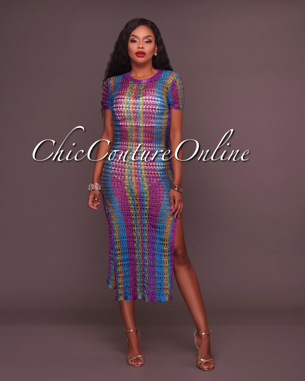 Calleandra Multi Color Metallic Crochet Cover Up Dress