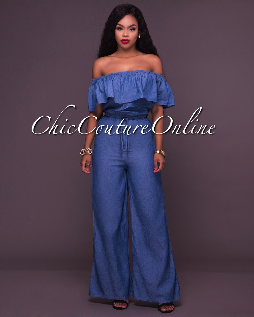 04b5725b434 Cameron Denim Off-The-Shoulder Ruffle Jumpsuit. Price   48.00. Image 1