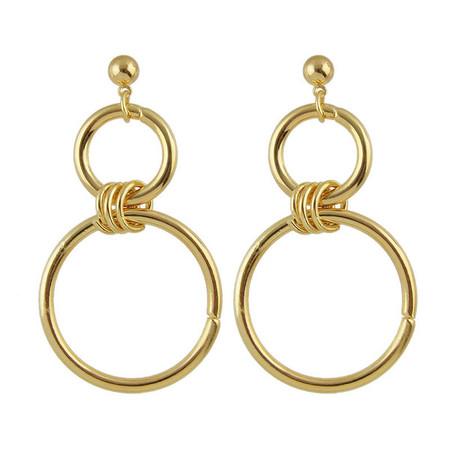 Dane Golden Double Circle Dangle Earrings
