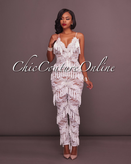 Aspen Off-White Lace Embroidery Jeweled Fringe Jumpsuit