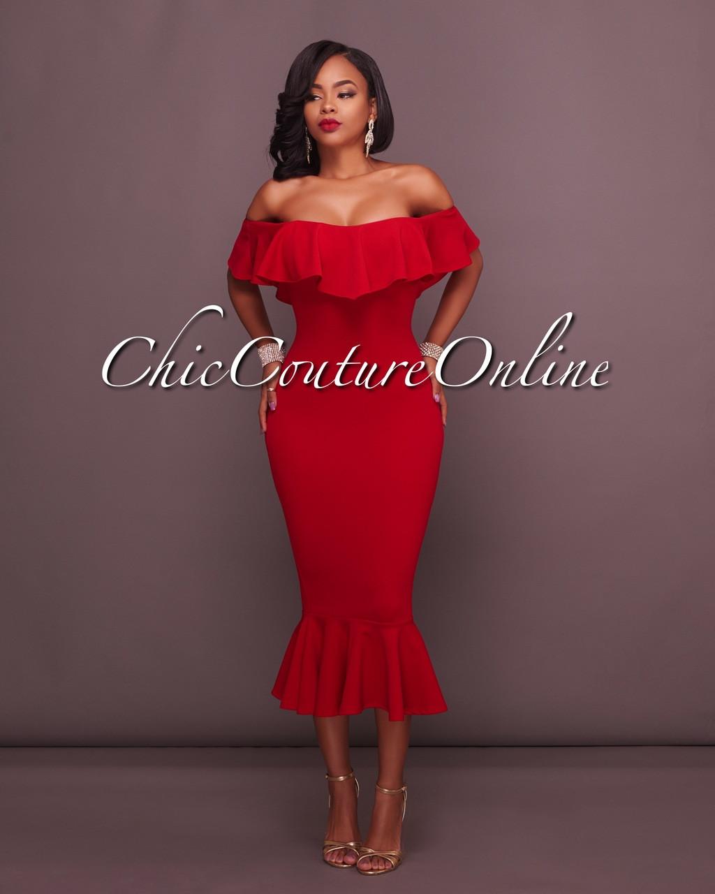 7091bf4787b9 Ekon Red Off-The-Shoulder Ruffle Midi Dress. Price   50.00. Image 1