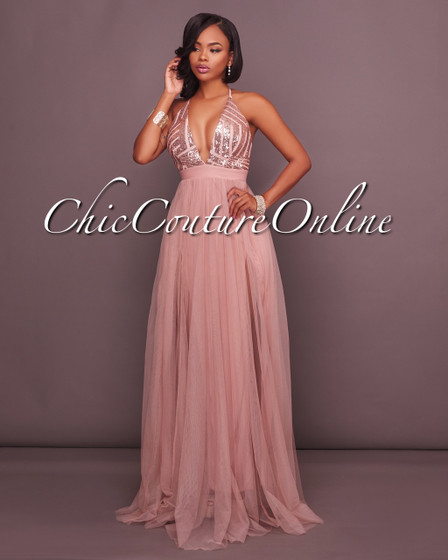 Madrina Dusty Blush Tulle Rose Gold Sequins Maxi Dress