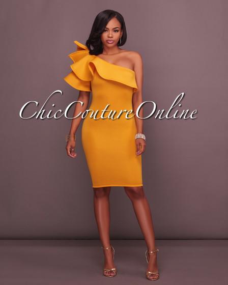 River Yellow One Ruffle Sleeve Midi Dress