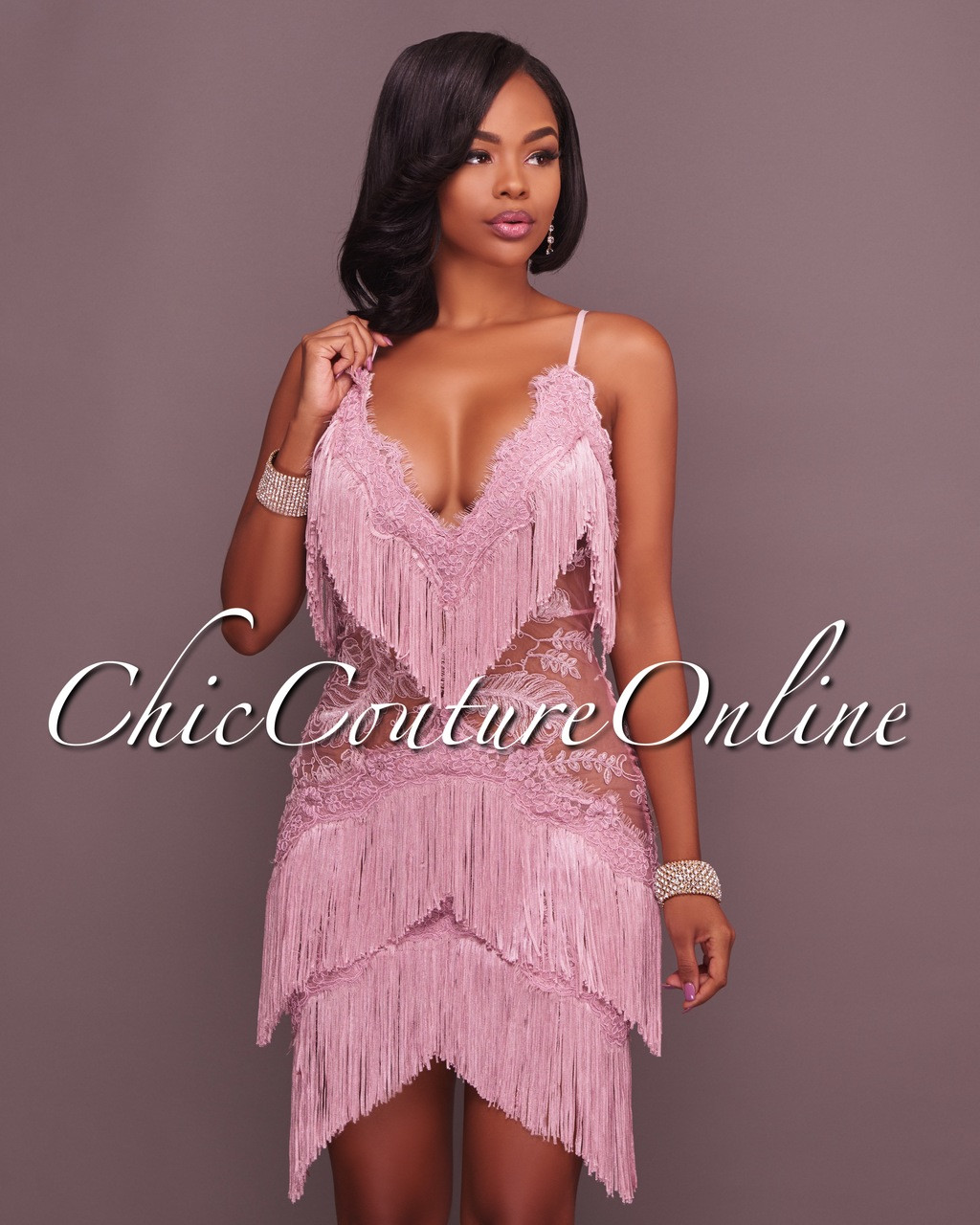 Sophie Mauve Mini Fringe Dress