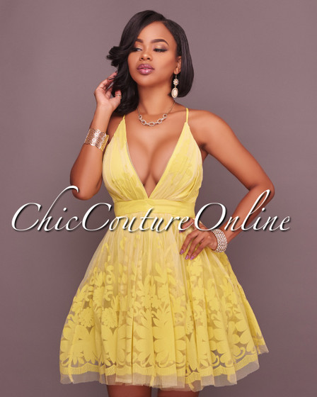 Vicky Yellow Low Neckline Structured Skater Dress