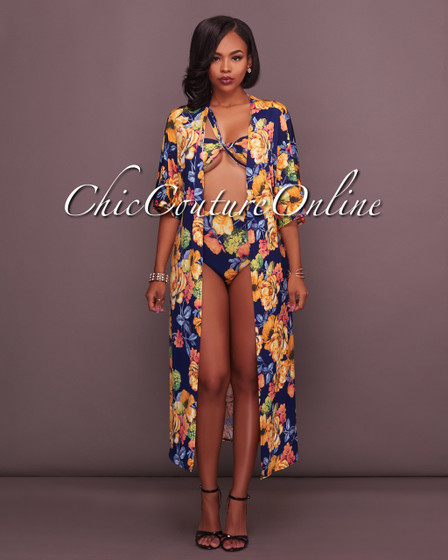 Carmene Navy Floral Print Three Piece Set Swimsuit