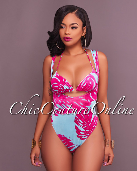 Bryce Fuchsia Aqua Print Two Piece Swimsuit Set