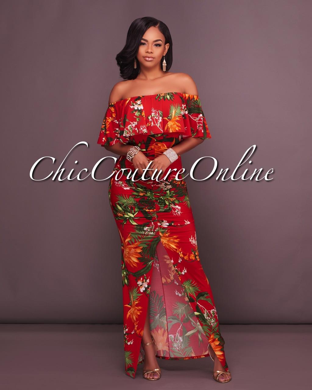 8d244216e9c1 Francoise Red Multi-Color Floral Print Off-The-Shoulder Maxi Dress. Price    45.00. Image 1