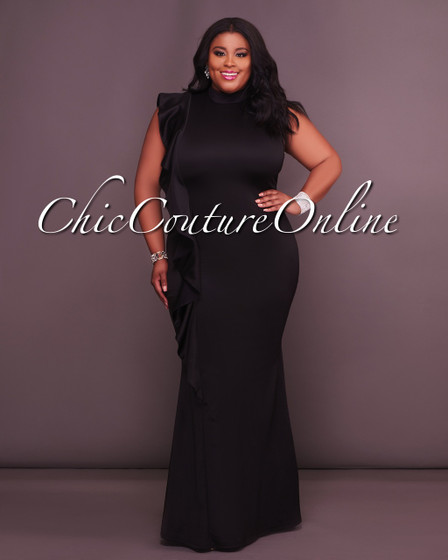 Veronika CURVACEAOUS Black Ruffle Side Midi Dress
