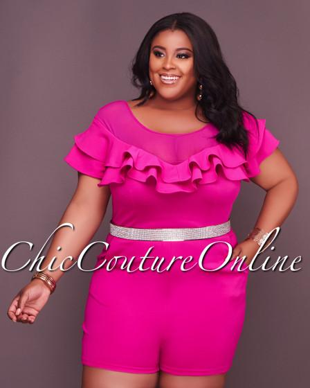 Aliyah Mesh Pink CURVACEOUS Ruffle Romper