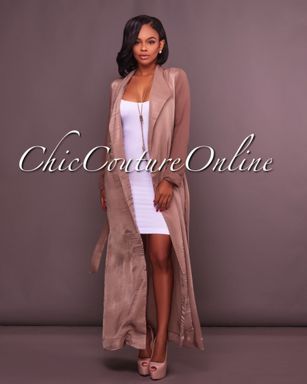 Seville Taupe Belted LUXE Duster