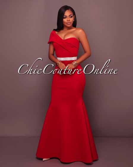 Benson Red Single Shoulder Ponti Gown