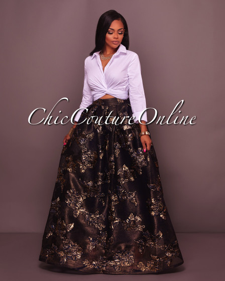 Dallas Navy-Blue Gold Floral Textured Luxe Maxi Skirt