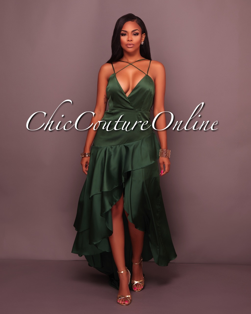 01be78f79696 Nailah Hunter Green Satin High-Low Slip Dress