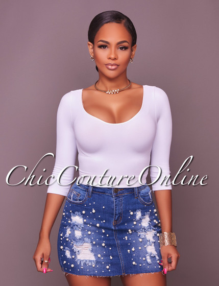 Camila Pearl Embelishments Blue Distressed Denim Skirt