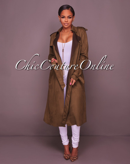 Denize Olive Green Faux Suede Trench Jacket