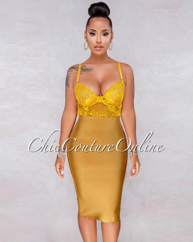Lizeth Moroccan Gold Elastic Body-Con Skirt
