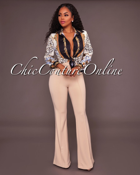 Shionat Nude High Waist Wide Leg Pants