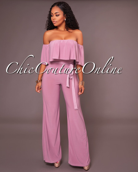 Cruz Lilac Ruffle Off The Shoulder Jumpsuit