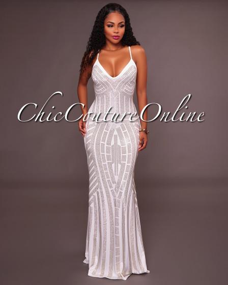 Teony Ivory Studded Maxi Dress