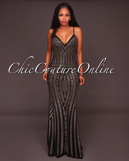 Teony Black Studded Maxi Dress