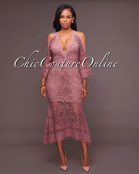 Aria Mauve Crochet Cut-Out Shoulders Dress
