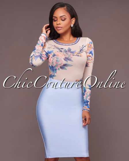 Lizeth Ice Blue Elastic Body-Con Skirt