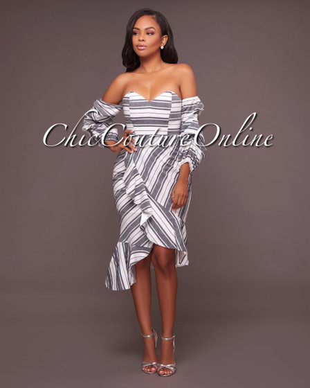 Skylar Off White Striped Off The Shoulder Ruffle Dress