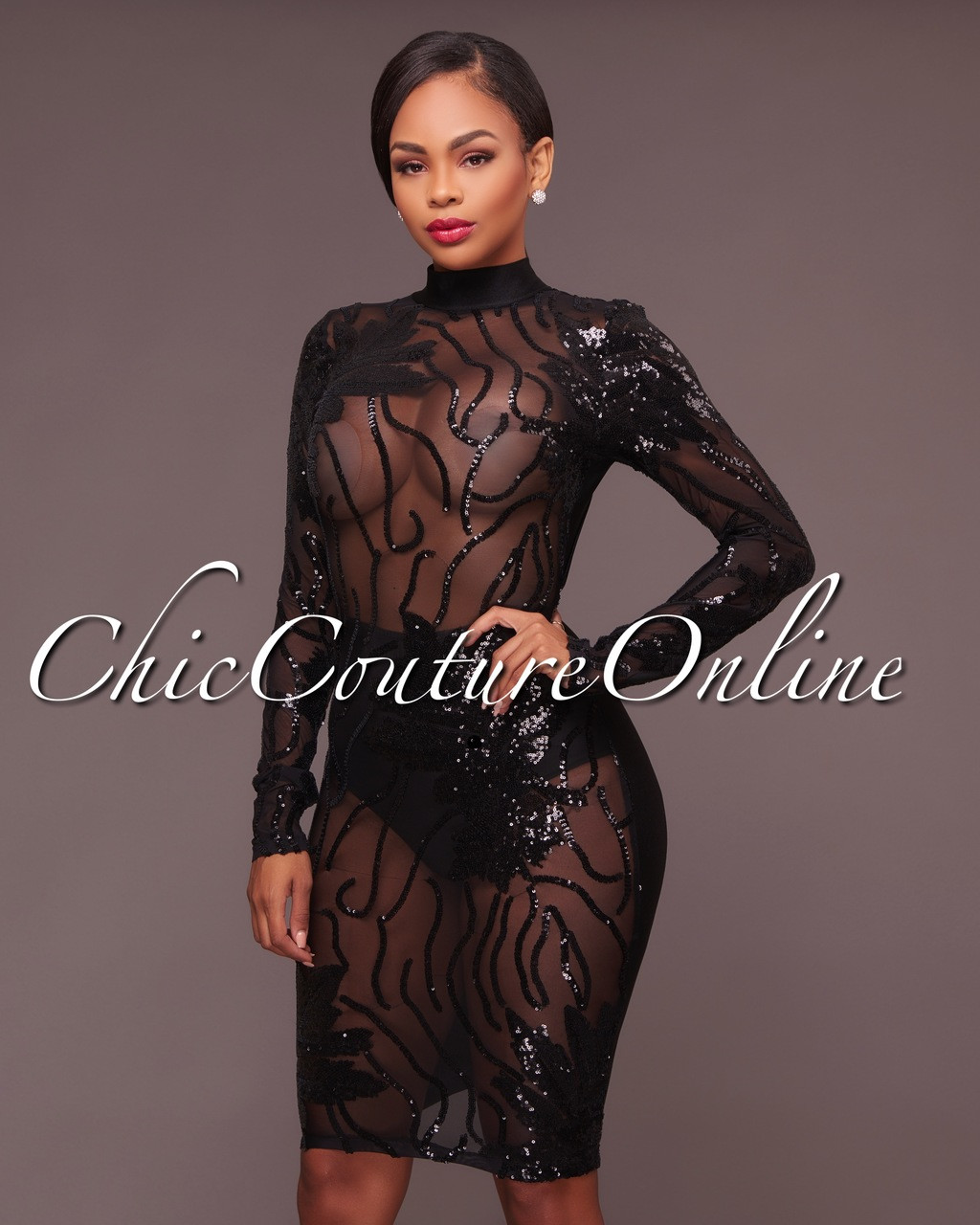 0799937000aa Caleb Black Sequins Semi-Sheer Open Back Dress. Your Price: $40.00 (You  save $20.00). Image 1