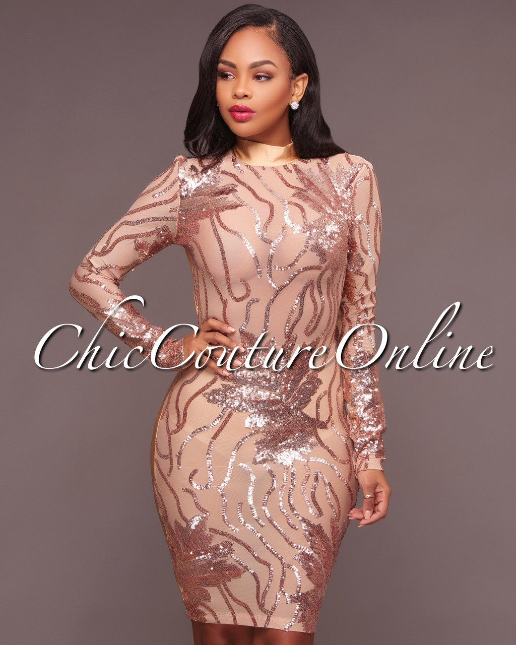 6e634596d82c Caleb Rose Gold Nude Sequins Semi-Sheer Open Back Dress. Your Price: $40.00  (You save $20.00). Image 1