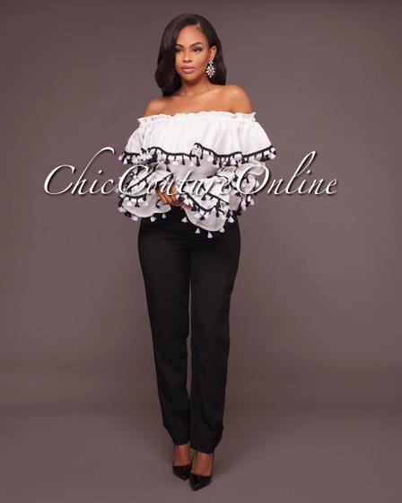 Maggie White With Black Tassels Off The Shoulder Top & Black Pants Set