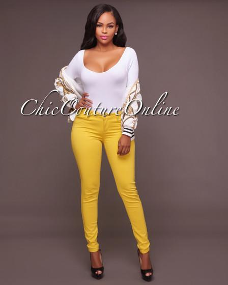 Mandolin Yellow Colored Jeans