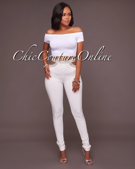 Elise Off-White Cut Out Rhinestone Accents Leggings