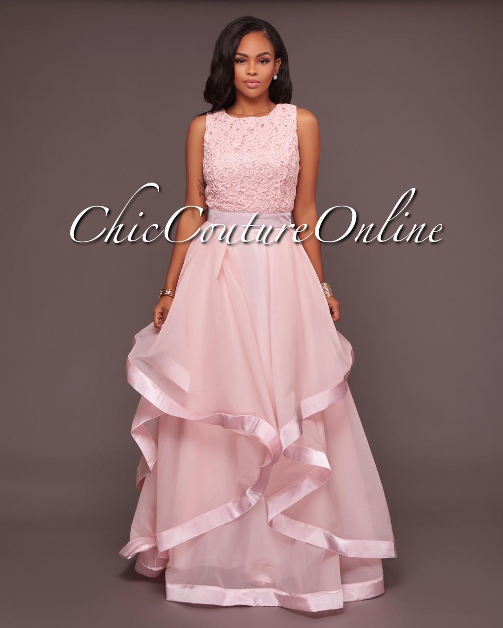 a3fcd6006 Malissa Peach Pink Ruffled Skirt Maxi Dress