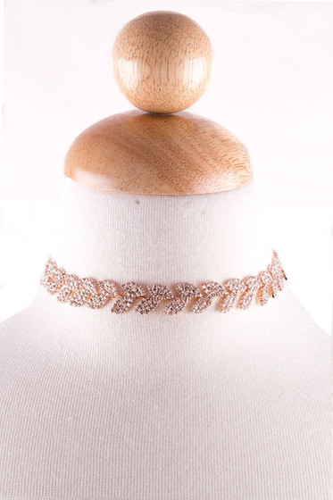 Caro Rose Gold Leaf Pattern Rhinestone Choker Necklace