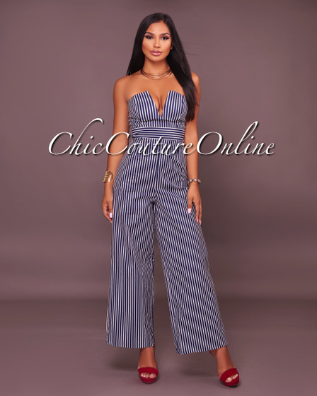 Vanity Navy-Blue Denim Stripes Ankle Length Jumpsuit