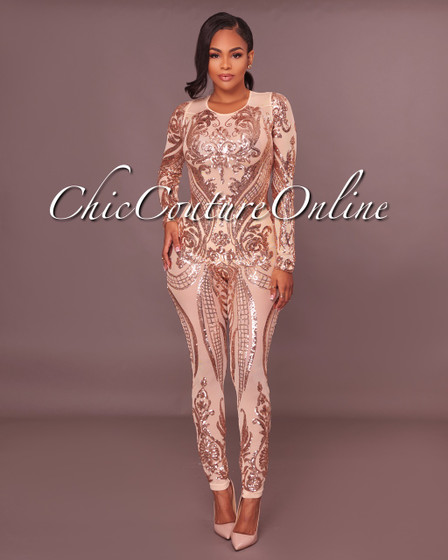 Honesty  Rose Gold Sequins Semi-Sheer Mesh Jumpsuit