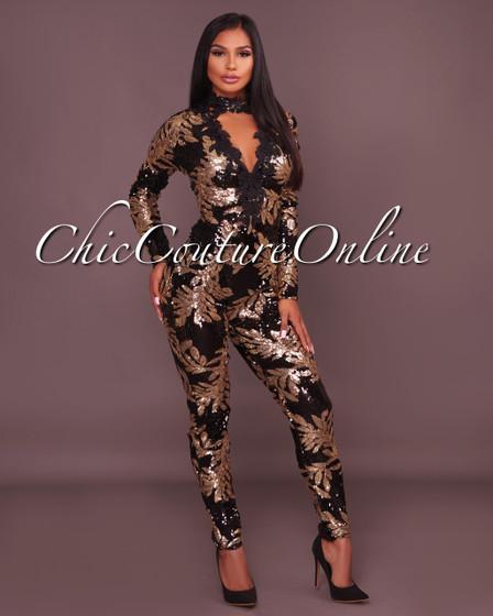 Baldwin Black Gold Sequins Jumpsuit
