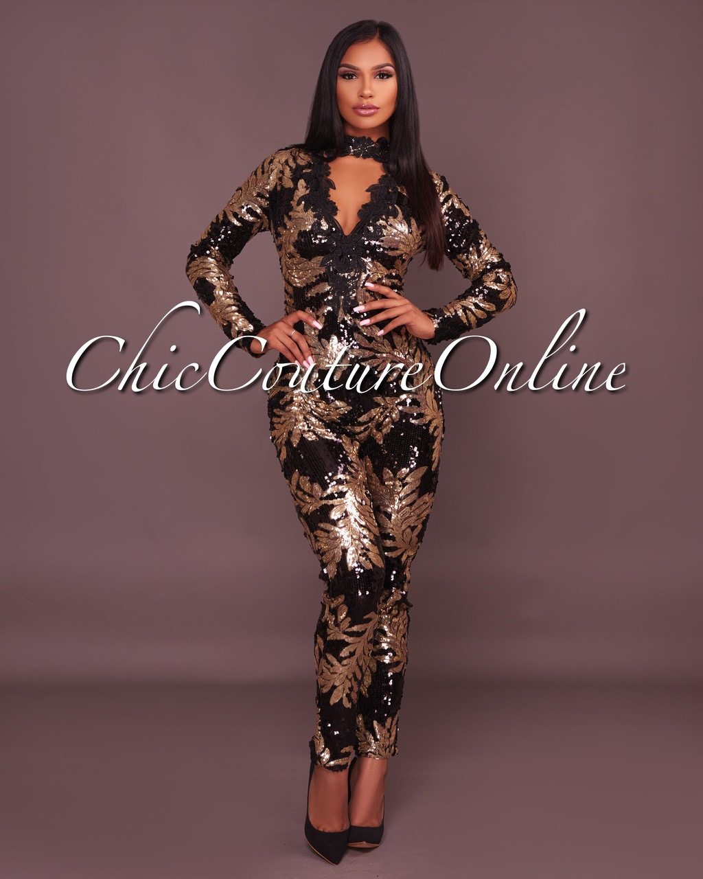 Baldwin Black Gold Sequins Jumpsuit